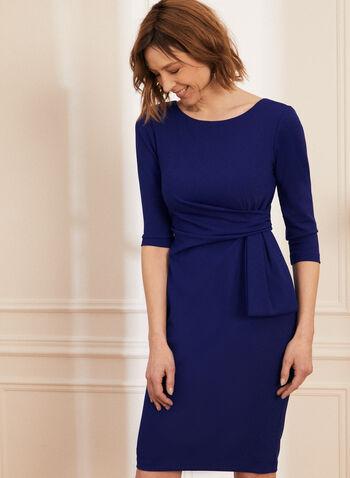 Robe fourreau à détail nœud, Bleu,  robe cocktail, robe de jour, robe, manches 3/4, noeud, fourreau, crêpe, col bateau, printemps été 2021