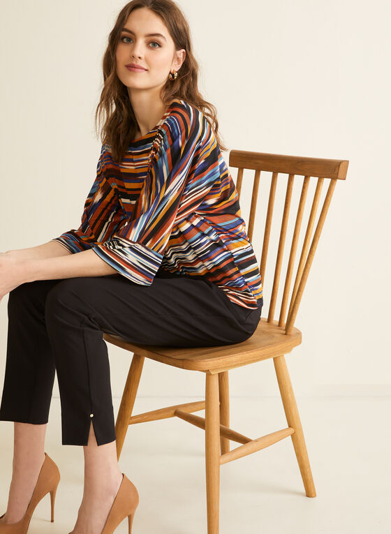 Stripe Print Kimono Sleeve Top, Orange