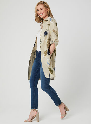 Carré Noir - Feather Print Linen Blouse, Brown, hi-res