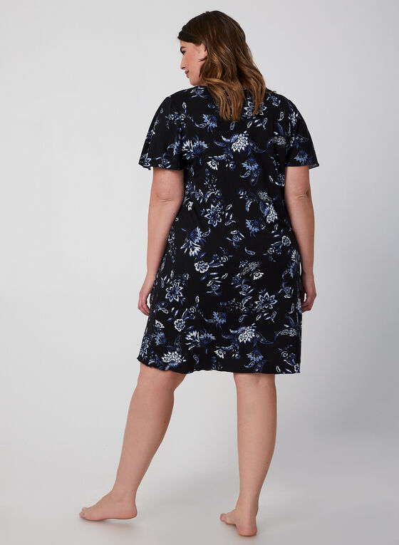 Hamilton - Floral Print Nightgown, Blue