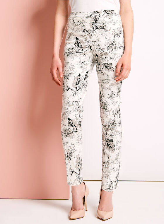 Floral Print Straight Leg Ankle Pants, White, hi-res