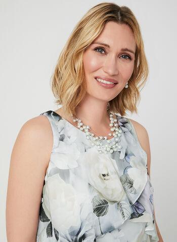 Floral Print Tiered Dress, White, hi-res,  sleeveless, layered, chiffon, ruffles, fall 2019, winter 2019