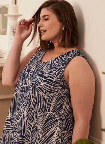 Tropical Print Sleeveless Top, Blue,  top, v-neck, sleeveless, tropical, sharkbite, spring summer 2020