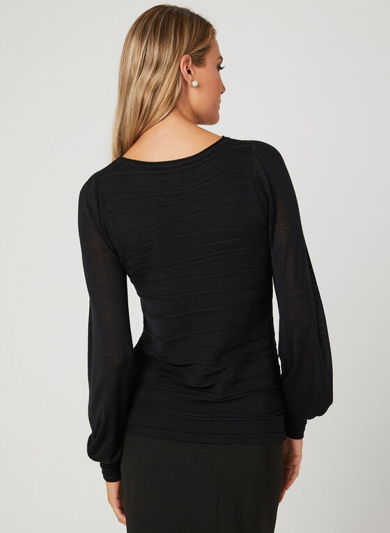 Ribbed Detail Knit Sweater, Black, hi-res