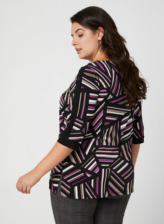 Tunique en jersey à motif géométrique, Noir, hi-res