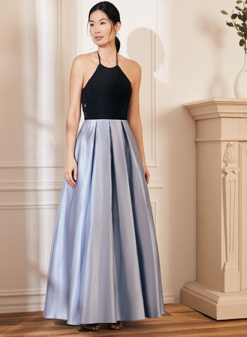 Halter Neck Ball Gown, Blue,  prom dress, ball gown, satin, jersey, halter neck, pockets, sleeveless, open back, crinoline, spring summer 2021