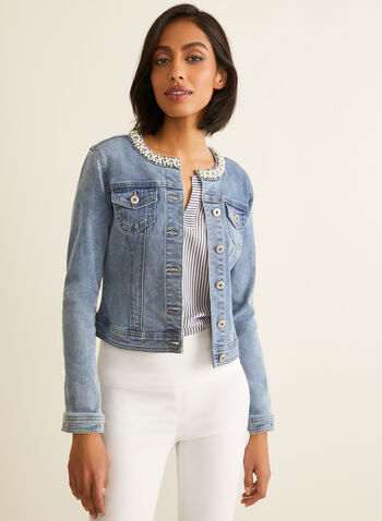Pearl Embellished Denim Jacket, Blue,  jacket, denim, pearls, rhinestones, long sleeves, pockets, buttons, spring summer 2020