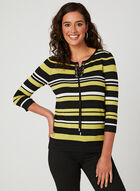 Stripe Print Sweater, Black, hi-res