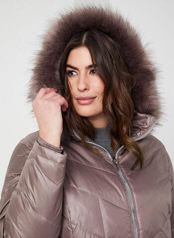 Down Coat With Faux Fur, Purple, hi-res,  coat, down coat, winter coat, faux fur coat, faux fur, zippered coat, fall 2019, winter 2019