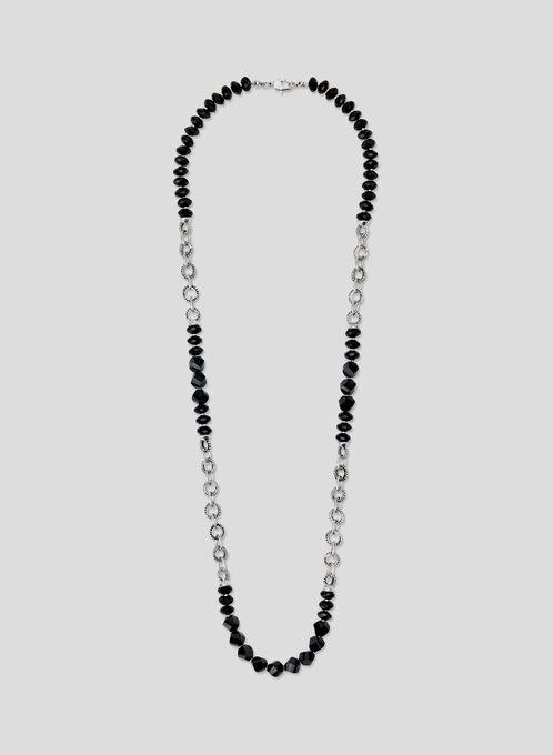 Collier long à anneaux et pierres, Noir, hi-res