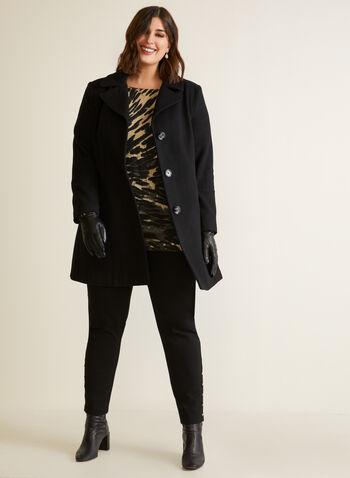 Manteau structuré en molleton, Noir,  automne hiver 2020, manteau, structuré, molleton, laine, boutons, poches