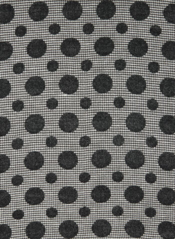 Dot Print Houndstooth Scarf, Black,  fall winter 2020, scarf, houndstooth, dot print, frayed, frayed hem. accessories