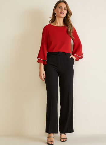 Flowy Blouse With Flared Sleeves, Red,  fall winter 2020, metallic, layered, flared sleeves, round neck, holiday, blouse