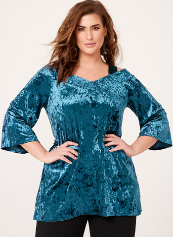 Off The Shoulder Bell Sleeve Velvet Top, Blue, hi-res