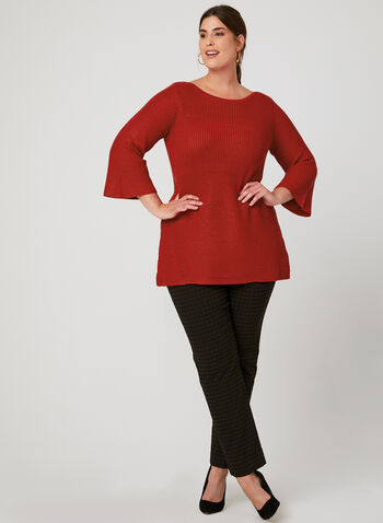 Flared Sleeve Boat Neck Sweater, Red, hi-res