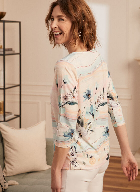 T-shirt à motif floral et détail strass, Bleu