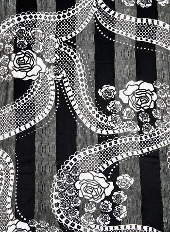 Foulard satiné motif floral, Noir, hi-res