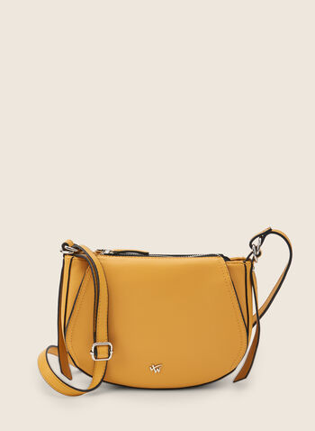 Rounded Crossbody Bag, Yellow,  bag, crossbody, leatherette, faux leather, adjustable, zipper, round, spring summer 2020