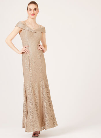 Off The Shoulder Mermaid Dress, Gold, hi-res