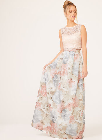 Morgan & Co. - Floral Print Lace Gown, Pink, hi-res