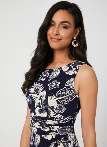 Floral Print Faux Wrap Dress, Blue,  Fall winter 2019, scoop neck, puff jersey, day dress, summer dress, sleeveless,