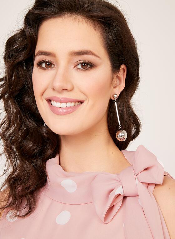 Polka Dot Print Chiffon Dress, Pink, hi-res