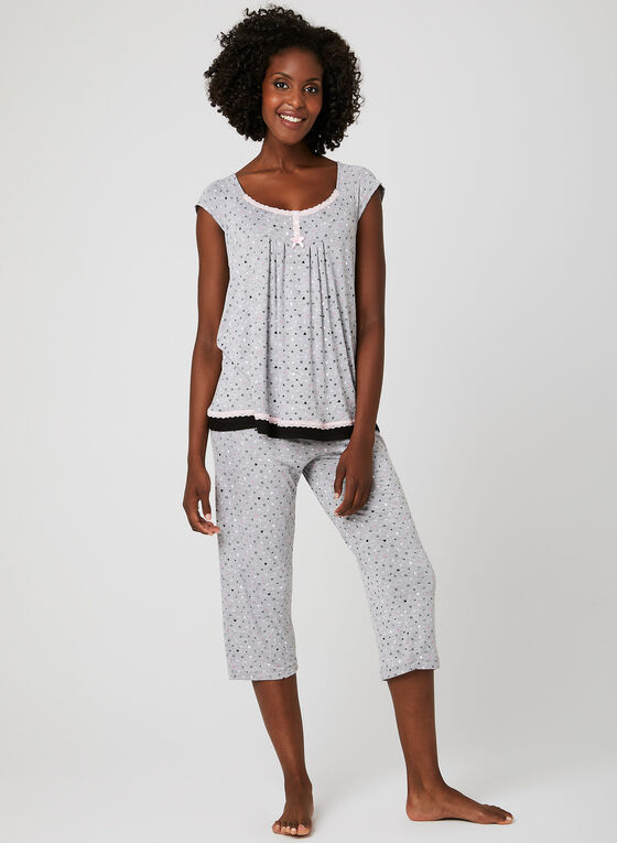 René Rofé – Heart Print Pyjama Set , Grey, hi-res