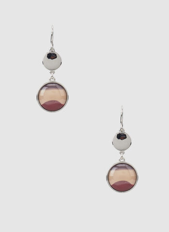 Two-Tiered Drop Earrings, Red, hi-res,  round earrings, short earrings