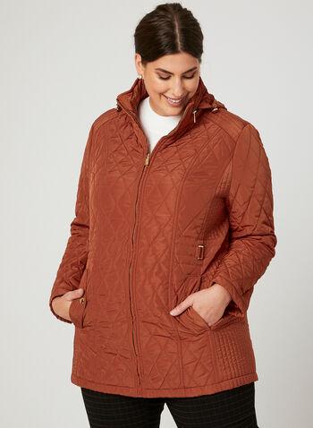 Manteau matelassé à capuchon camouflé, Orange, hi-res