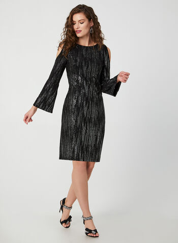 Cold Shoulder Glitter Dress, Black,  dress, cocktail dress, long sleeves, cold shoulder, glitter, fall 2019, winter 2019