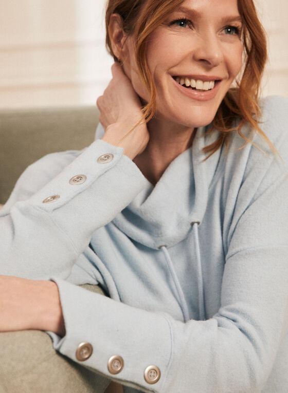 Haut en tricot à boutons et col bénitier , Bleu