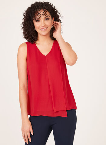 Layered Crepe Sleeveless Blouse, Red, hi-res