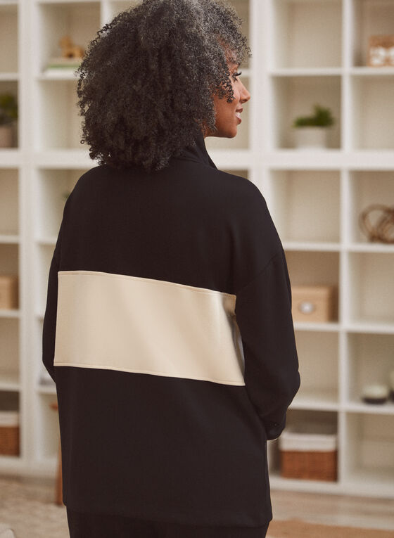 Colour Block Zipper Detail Top, White