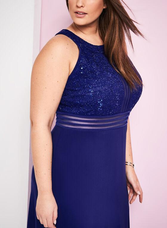 Jersey & Sequin Lace Gown , Blue, hi-res