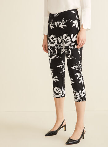 Floral Print Pull-On Capris , Black,  capri, pull-on, slim leg, floral print, stretchy, Spring 2020