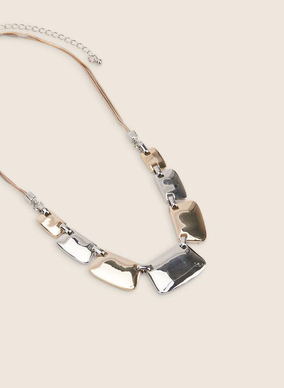Two-Tone Metallic Necklace, Yellow