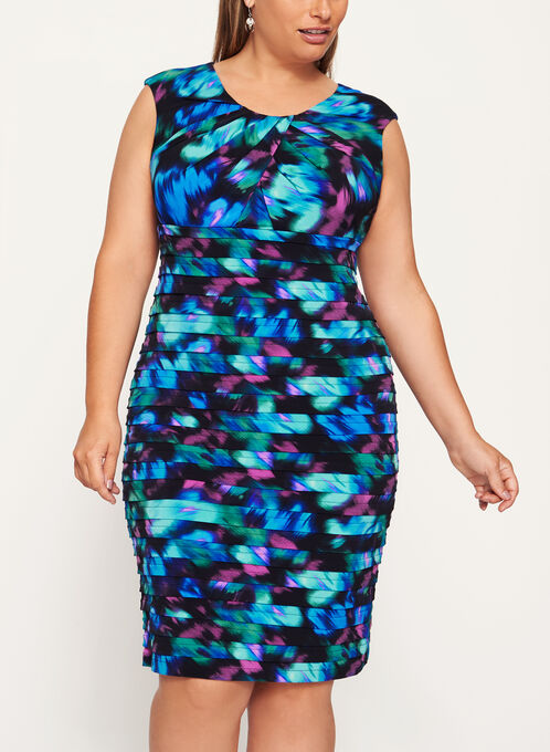 Abstract Print Shutter Tuck Dress, Blue, hi-res