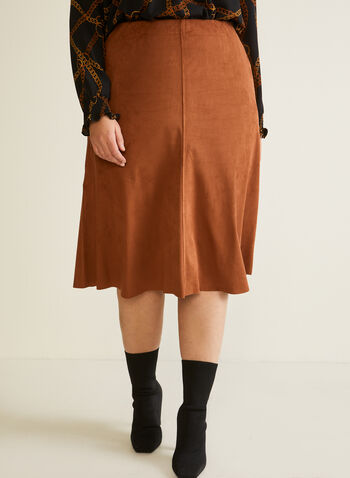Faux Suede Midi Skirt, Brown,  skirt, midi, faux leather, suede, wavy, bucket, straight, pull-on, fall winter 2020