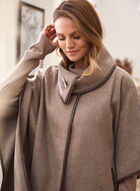 Stretch Faux Wool Cape, Off White