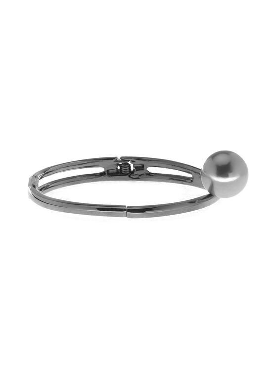 Metallic Pearl Hinge Bangle, Grey, hi-res