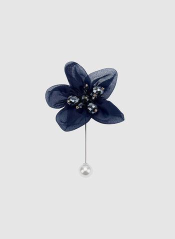Mesh Petal Flower Pin, Blue, hi-res