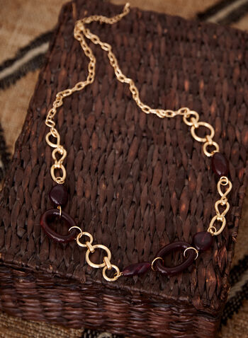 Collier long à anneaux dorés et résine, Violet,  accessoires, collier, bijoux, fermoir mousqueton, ajustable, anneaux, métal doré, résine, automne hiver 2021