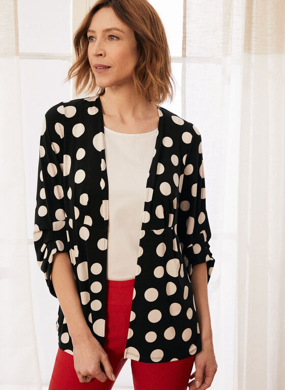 Dotted Print 3/4 Sleeve Top, Black