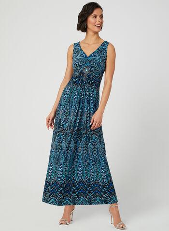 Robe maxi à motif mosaïque, Bleu, hi-res,  robe maxi, sans manches, col V, mosaïque, médaillon, jersey, printemps été 2019