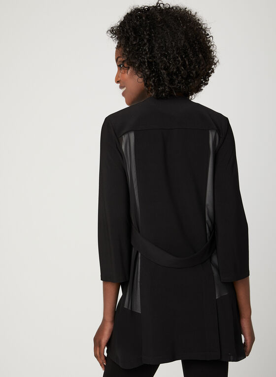 ¾ Sleeve Open Front Cardigan, Black, hi-res