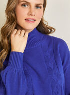 Mock Neck Cable Knit Sweater, Blue