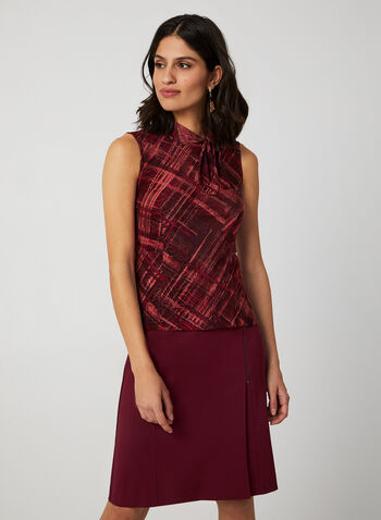 Abstract Print Sleeveless Top, Red, hi-res,  top, sleeveless, tie-neck, abstract print, mock neck, fall 2019