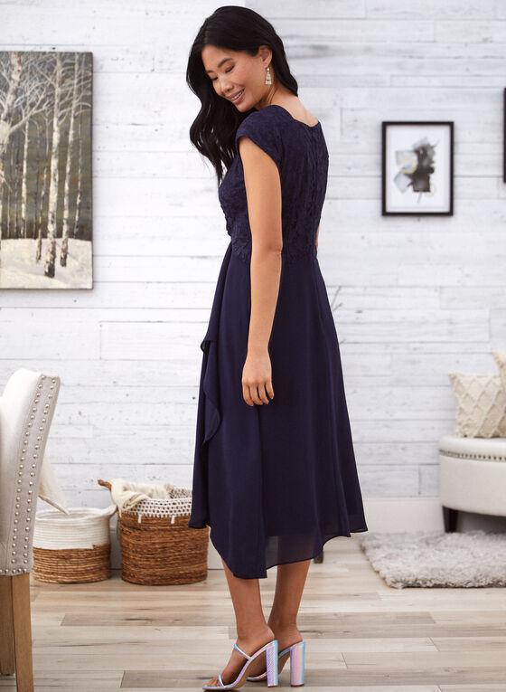 Lace Bodice Faux Wrap Dress, Blue