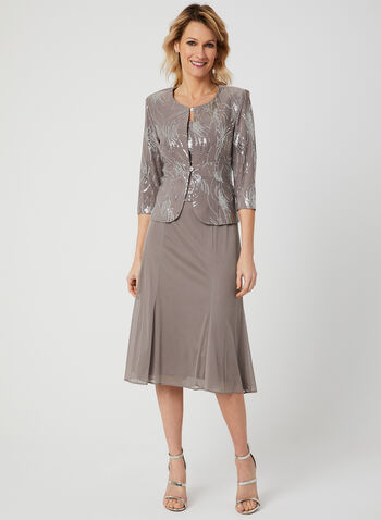 Alex Evenings - Sequin Dress & Jacket Set, Grey, hi-res,  jersey, ¾ sleeves, spring 2019, mesh