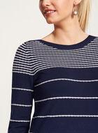 Pull tricot rayé texturé à manches ¾, Bleu, hi-res